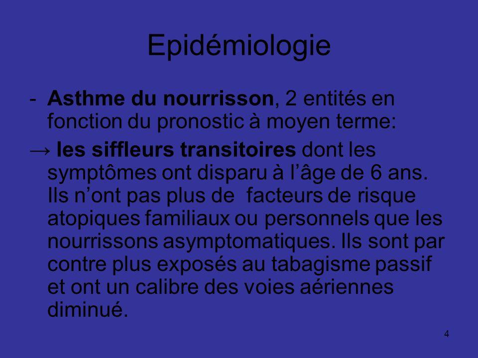 5 Epidémiologie les siffleurs persistants à lâge de 6 ans qui ont plus de facteurs de risque atopiques familiaux et personnels que les nourrissons asymptomatiques et des Ig E plus élevées à 9 mois.