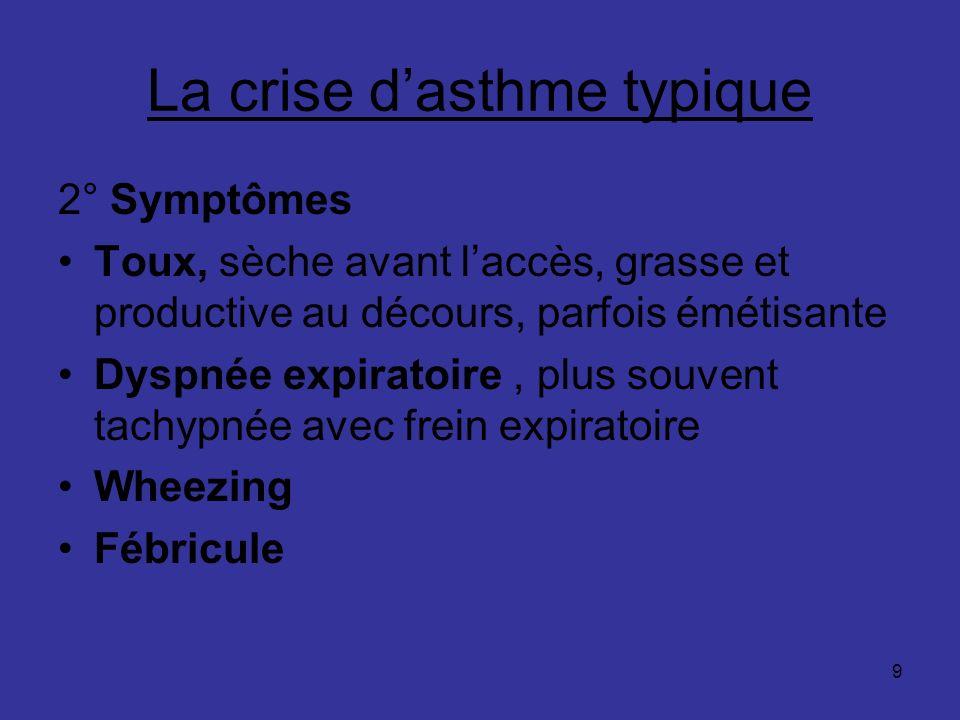 9 La crise dasthme typique 2° Symptômes Toux, sèche avant laccès, grasse et productive au décours, parfois émétisante Dyspnée expiratoire, plus souven