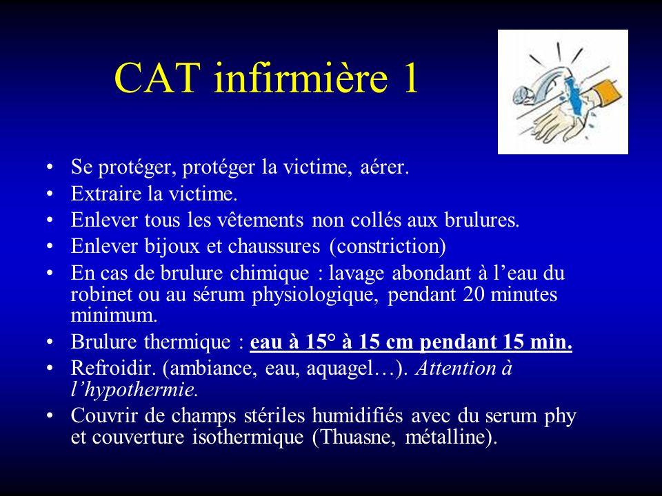 CAT infirmière 1 Se protéger, protéger la victime, aérer. Extraire la victime. Enlever tous les vêtements non collés aux brulures. Enlever bijoux et c