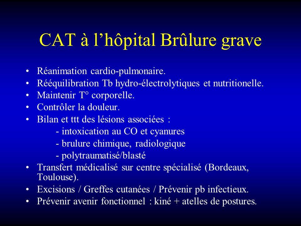 CAT à lhôpital Brûlure grave Réanimation cardio-pulmonaire. Rééquilibration Tb hydro-électrolytiques et nutritionelle. Maintenir T° corporelle. Contrô