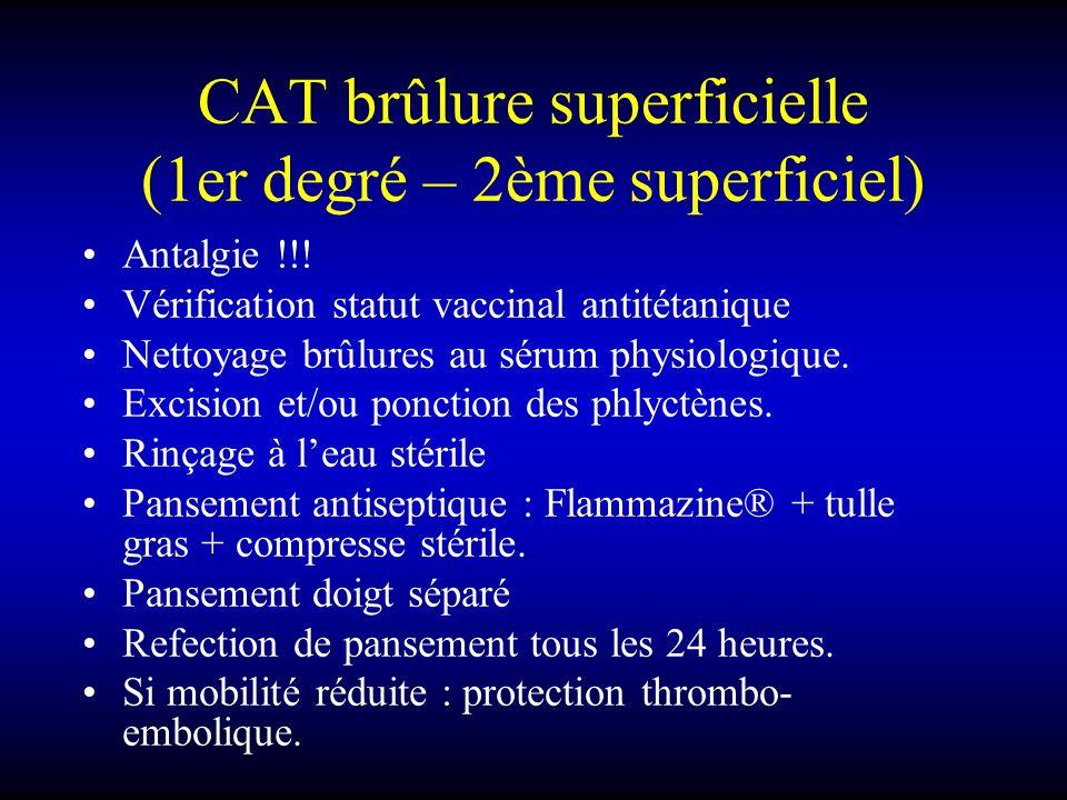 CAT brûlure superficielle (1er degré – 2ème superficiel) Antalgie !!! Vérification statut vaccinal antitétanique Nettoyage brûlures au sérum physiolog