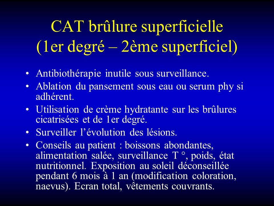CAT brûlure superficielle (1er degré – 2ème superficiel) Antibiothérapie inutile sous surveillance. Ablation du pansement sous eau ou serum phy si adh