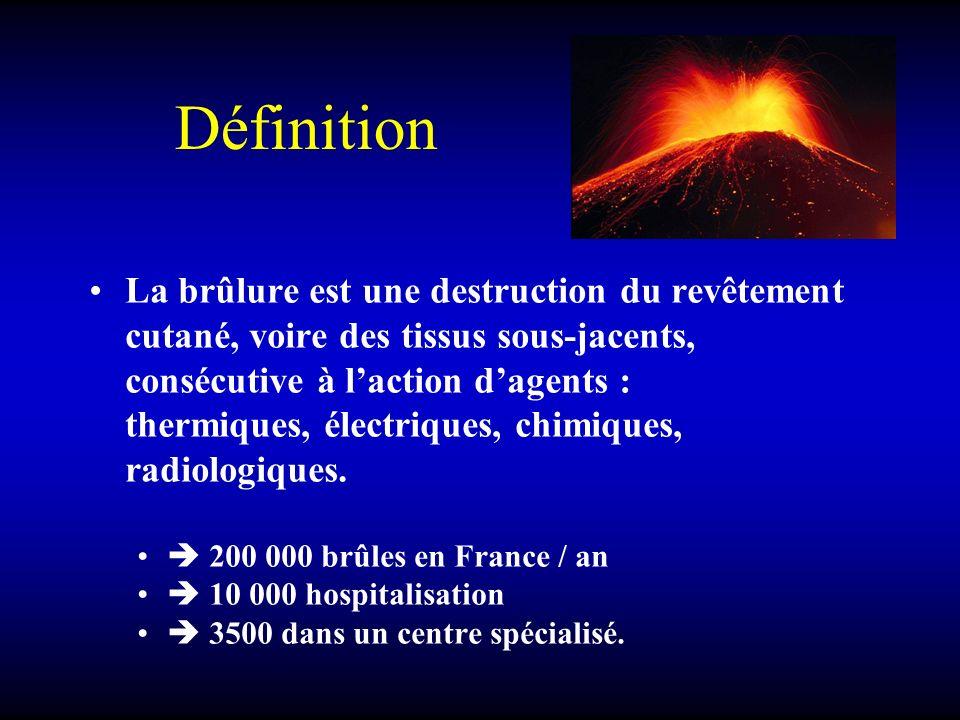 Définition La brûlure est une destruction du revêtement cutané, voire des tissus sous-jacents, consécutive à laction dagents : thermiques, électriques