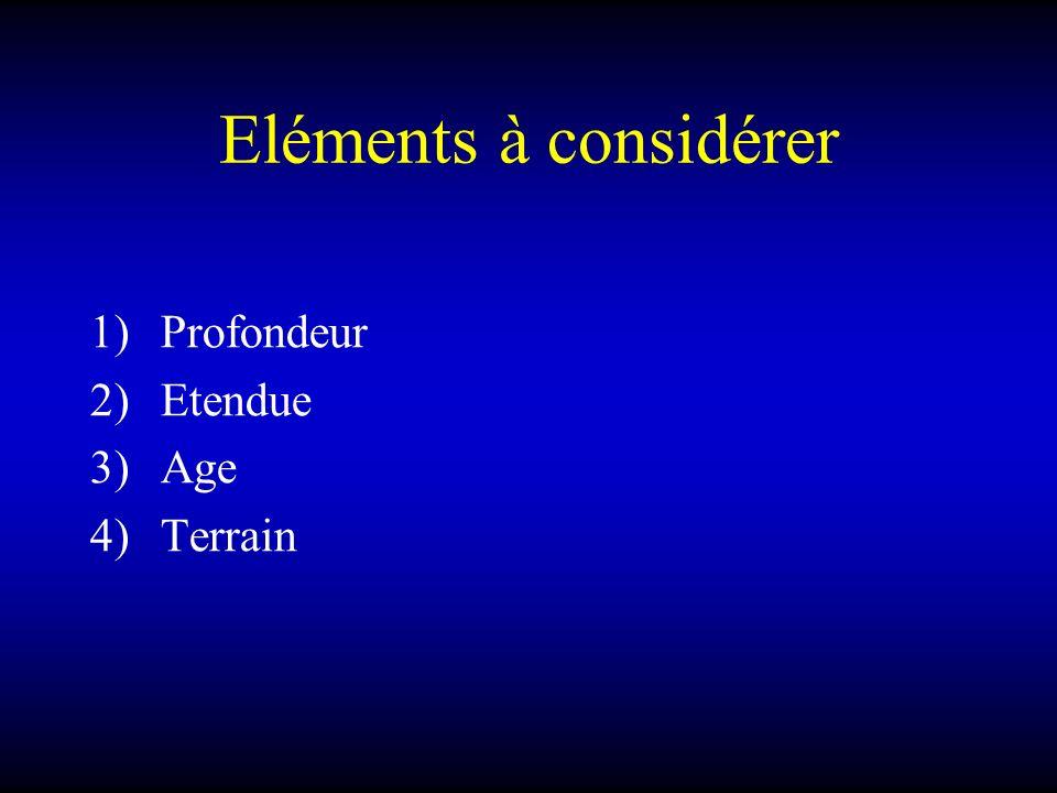 Eléments à considérer 1)Profondeur 2)Etendue 3)Age 4)Terrain