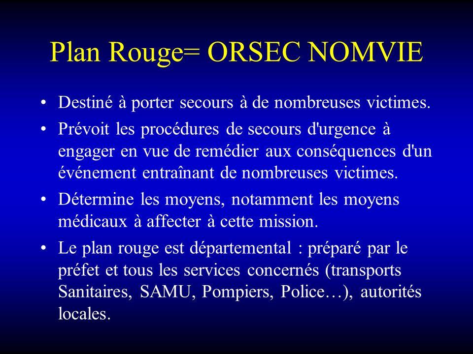 Plan Rouge= ORSEC NOMVIE Destiné à porter secours à de nombreuses victimes. Prévoit les procédures de secours d'urgence à engager en vue de remédier a