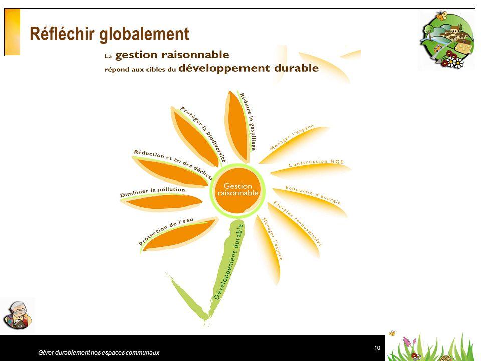 10 Gérer durablement nos espaces communaux Réfléchir globalement