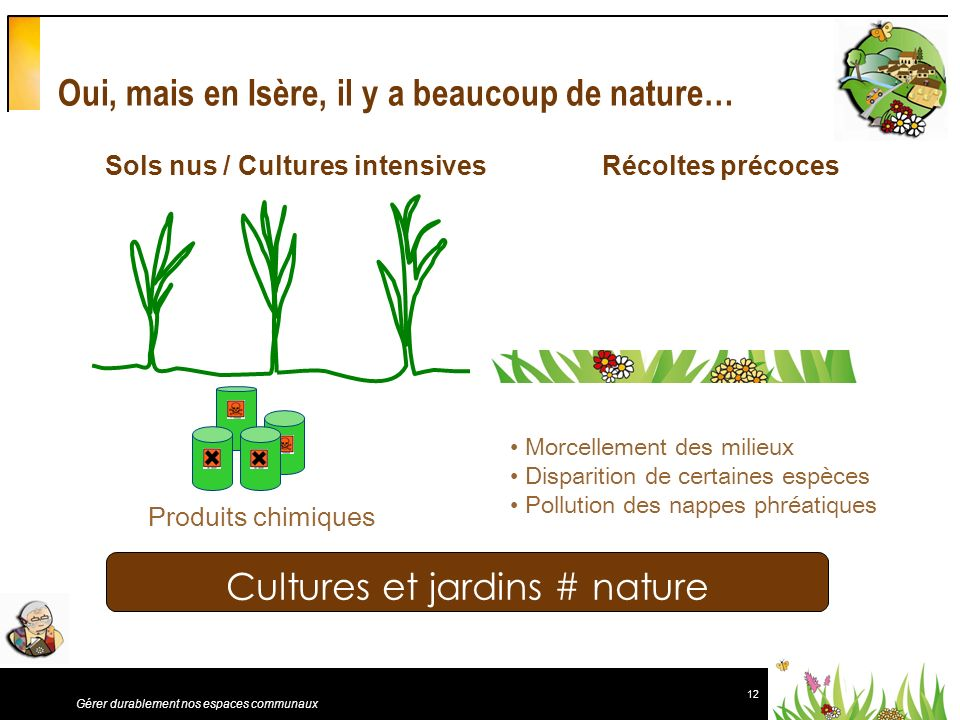 12 Gérer durablement nos espaces communaux Oui, mais en Isère, il y a beaucoup de nature… Sols nus / Cultures intensives Récoltes précoces Produits ch
