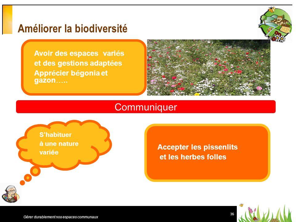 35 Gérer durablement nos espaces communaux Améliorer la biodiversité Avoir des espaces vari é s et des gestions adapt é es Appr é cier b é gonia et ga