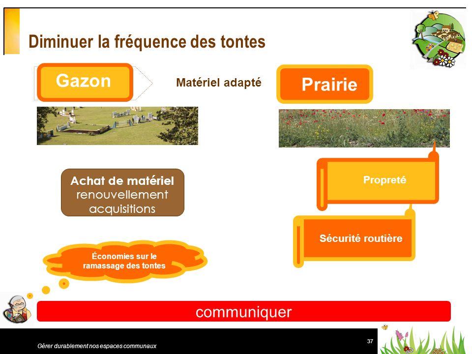 37 Gérer durablement nos espaces communaux Diminuer la fréquence des tontes communiquer Gazon Prairie Sécurité routière Propret é Économies sur le ram