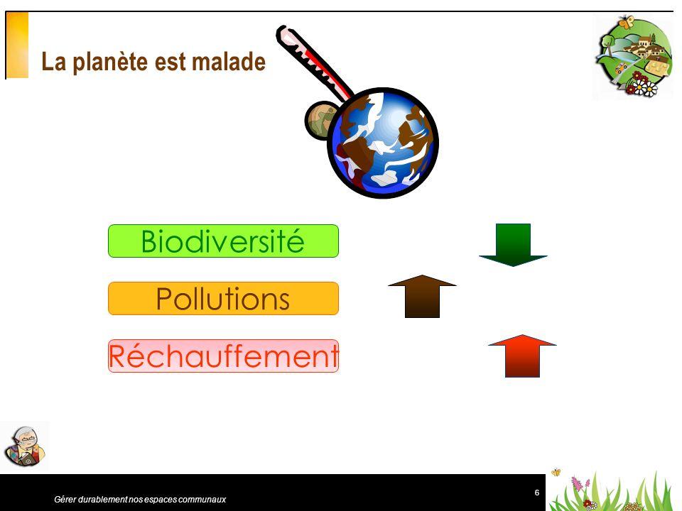 6 Gérer durablement nos espaces communaux Réchauffement Biodiversité La planète est malade Pollutions