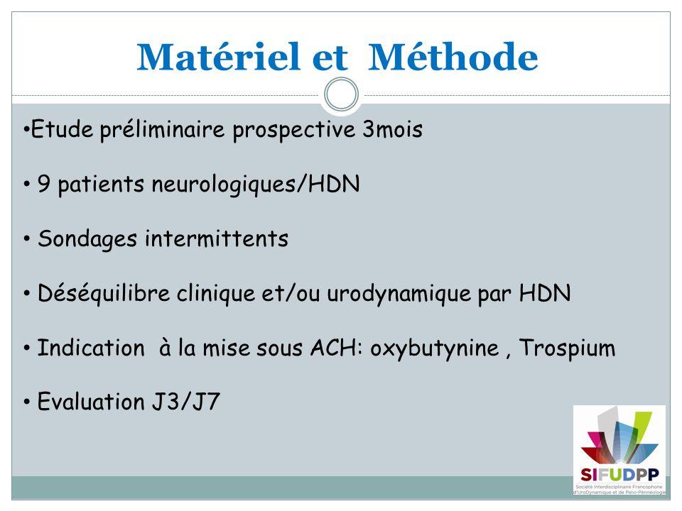 Etude préliminaire prospective 3mois 9 patients neurologiques/HDN Sondages intermittents Déséquilibre clinique et/ou urodynamique par HDN Indication à la mise sous ACH: oxybutynine, Trospium Evaluation J3/J7 Matériel et Méthode