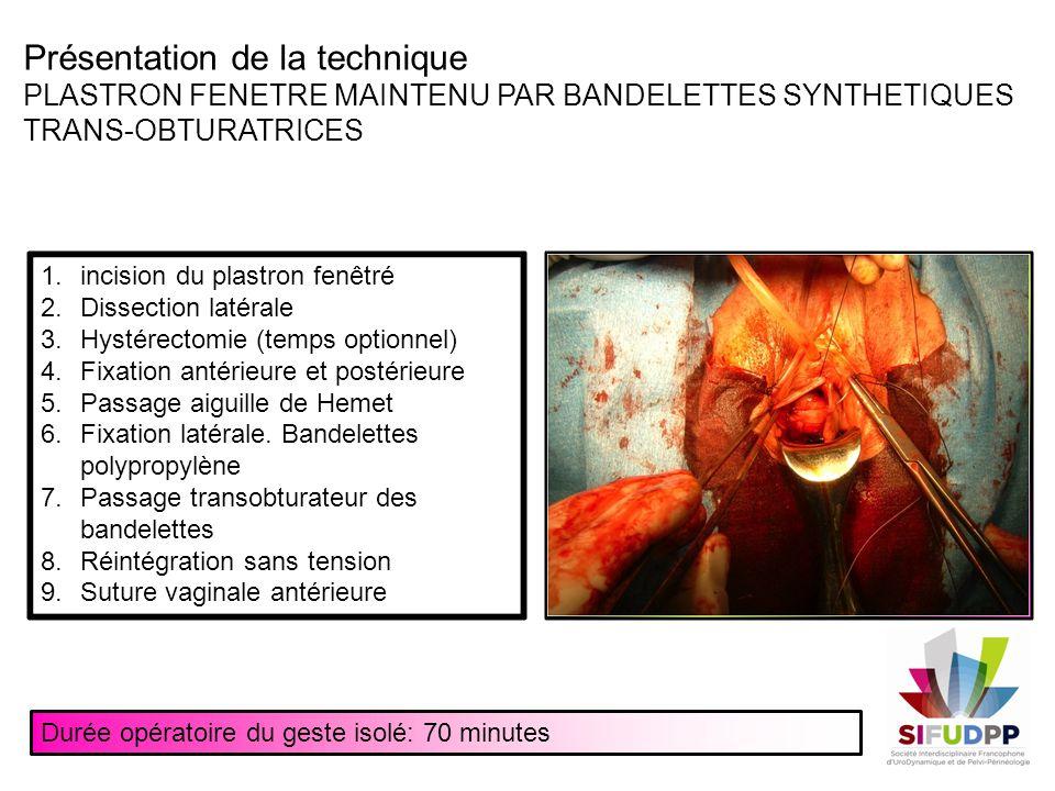 Présentation de la technique PLASTRON FENETRE MAINTENU PAR BANDELETTES SYNTHETIQUES TRANS-OBTURATRICES 1.incision du plastron fenêtré 2.Dissection lat
