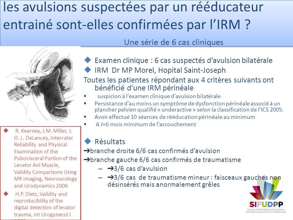 les avulsions suspectées par un rééducateur entrainé sont-elles confirmées par lIRM ? Une série de 6 cas cliniques R. Kearney, J.M. Miller, J. O. L. D