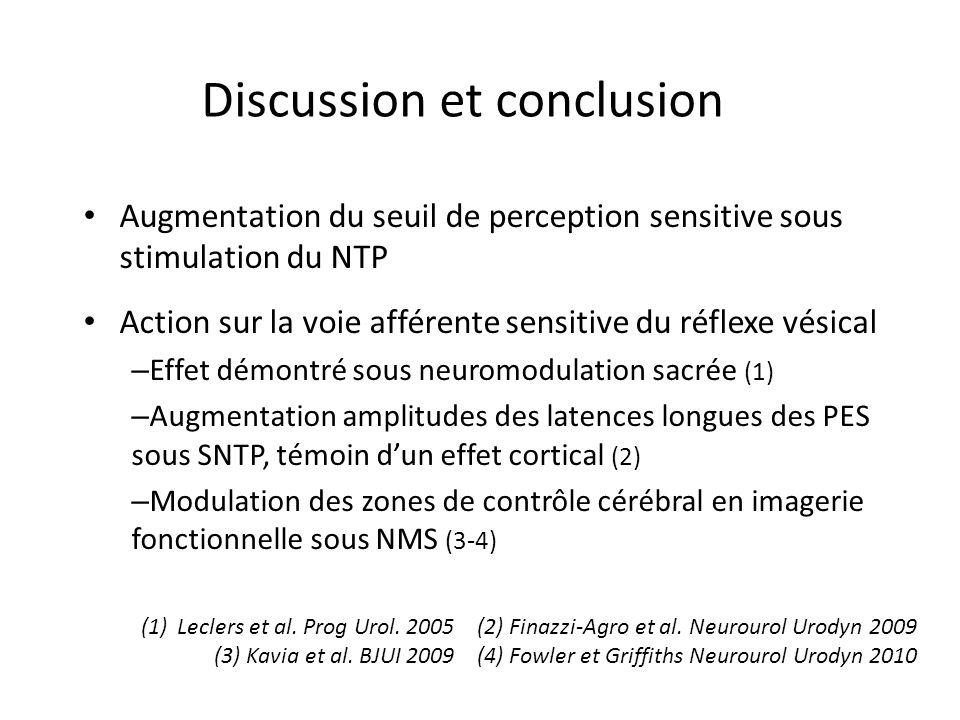 Discussion et conclusion Augmentation du seuil de perception sensitive sous stimulation du NTP Action sur la voie afférente sensitive du réflexe vésic