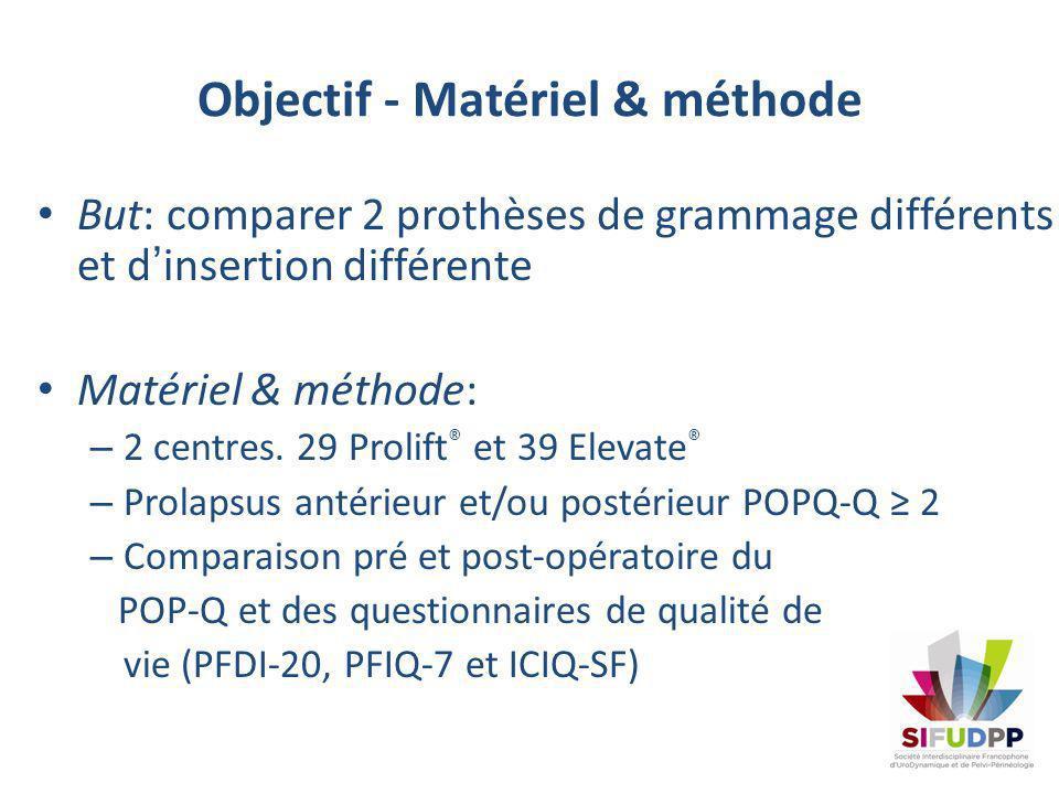 Objectif - Matériel & méthode But: comparer 2 prothèses de grammage différents et dinsertion différente Matériel & méthode: – 2 centres. 29 Prolift ®