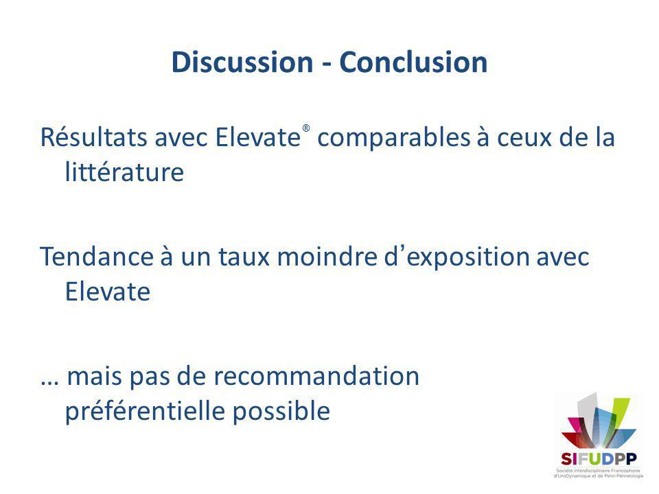Discussion - Conclusion Résultats avec Elevate ® comparables à ceux de la littérature Tendance à un taux moindre dexposition avec Elevate … mais pas d