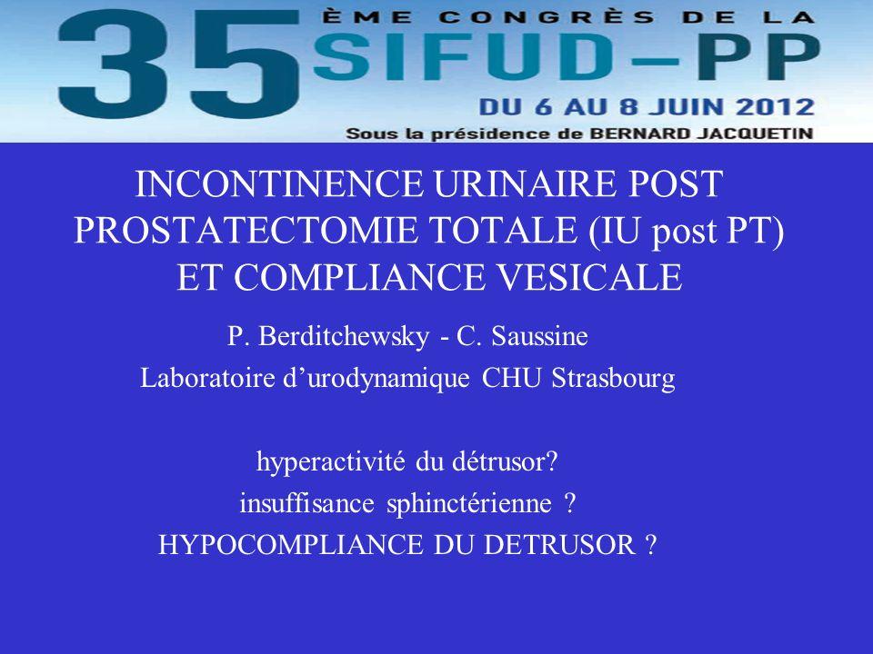 50 patients IU > 1e année post PT sans distinction CMM et compliance vésicale selon les recommandations ICS.
