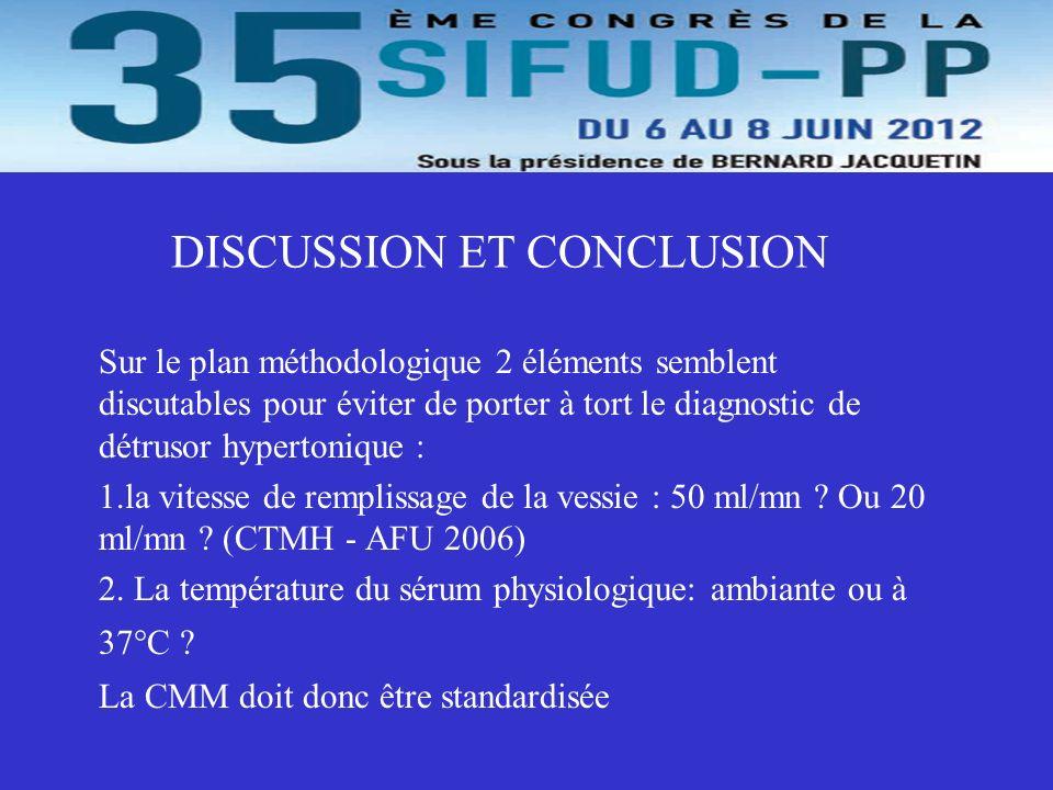 DISCUSSION ET CONCLUSION Sur le plan méthodologique 2 éléments semblent discutables pour éviter de porter à tort le diagnostic de détrusor hypertoniqu