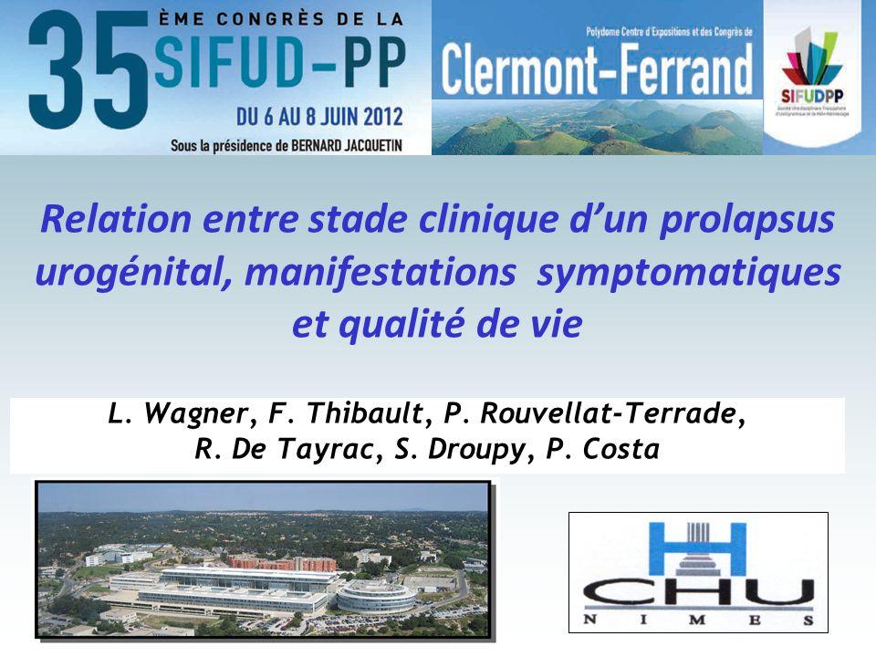 Relation entre stade clinique dun prolapsus urogénital, manifestations symptomatiques et qualité de vie L. Wagner, F. Thibault, P. Rouvellat-Terrade,