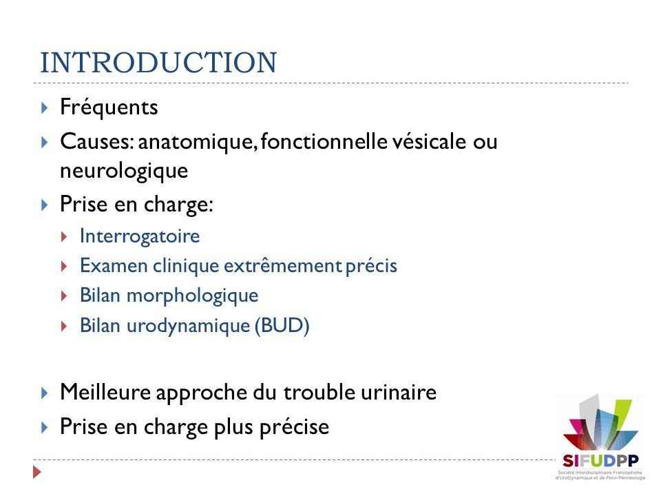 INTRODUCTION Fréquents Causes: anatomique, fonctionnelle vésicale ou neurologique Prise en charge: Interrogatoire Examen clinique extrêmement précis B