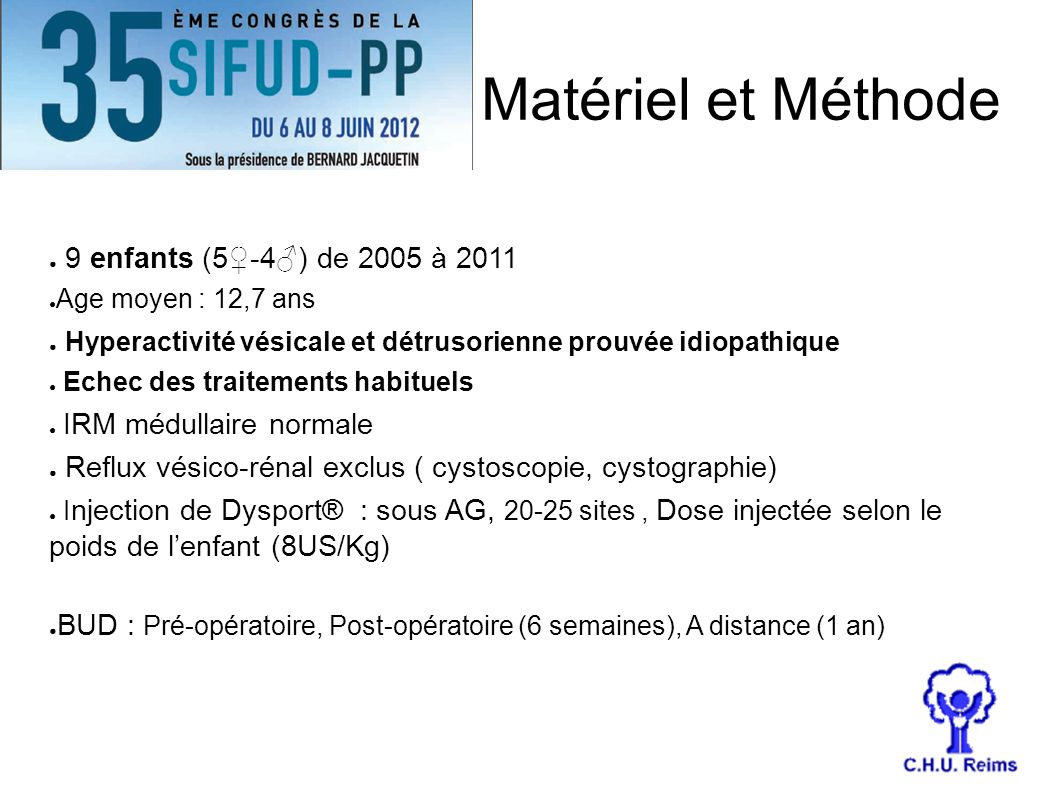 Matériel et Méthode 9 enfants (5-4) de 2005 à 2011 Age moyen : 12,7 ans Hyperactivité vésicale et détrusorienne prouvée idiopathique Echec des traitem