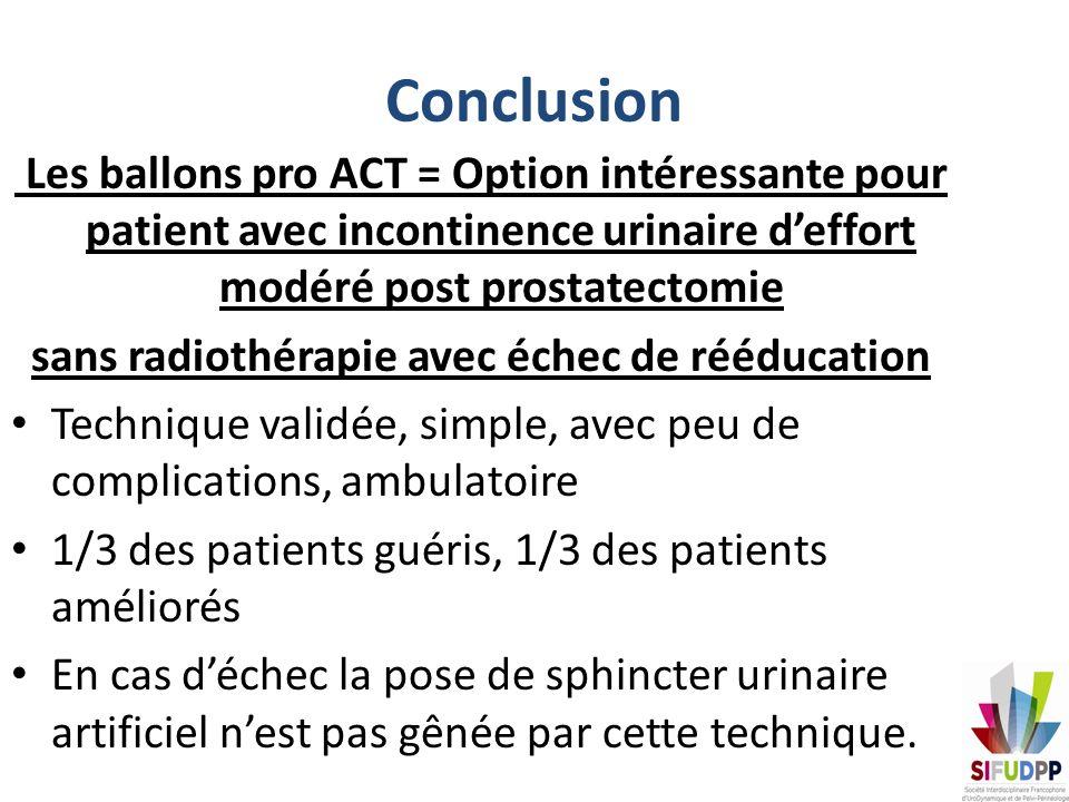 Conclusion Les ballons pro ACT = Option intéressante pour patient avec incontinence urinaire deffort modéré post prostatectomie sans radiothérapie ave