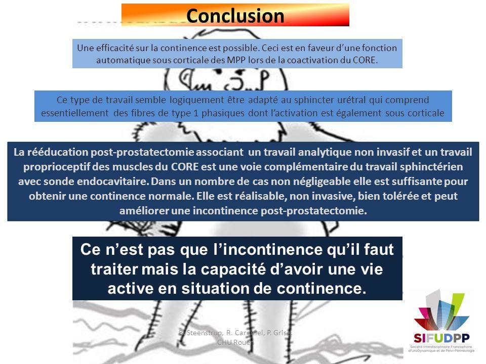 Conclusion Une efficacité sur la continence est possible. Ceci est en faveur dune fonction automatique sous corticale des MPP lors de la coactivation