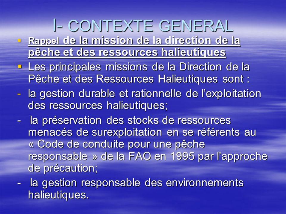 I- CONTEXTE GENERAL Rappel de la mission de la direction de la pêche et des ressources halieutiques Rappel de la mission de la direction de la pêche e