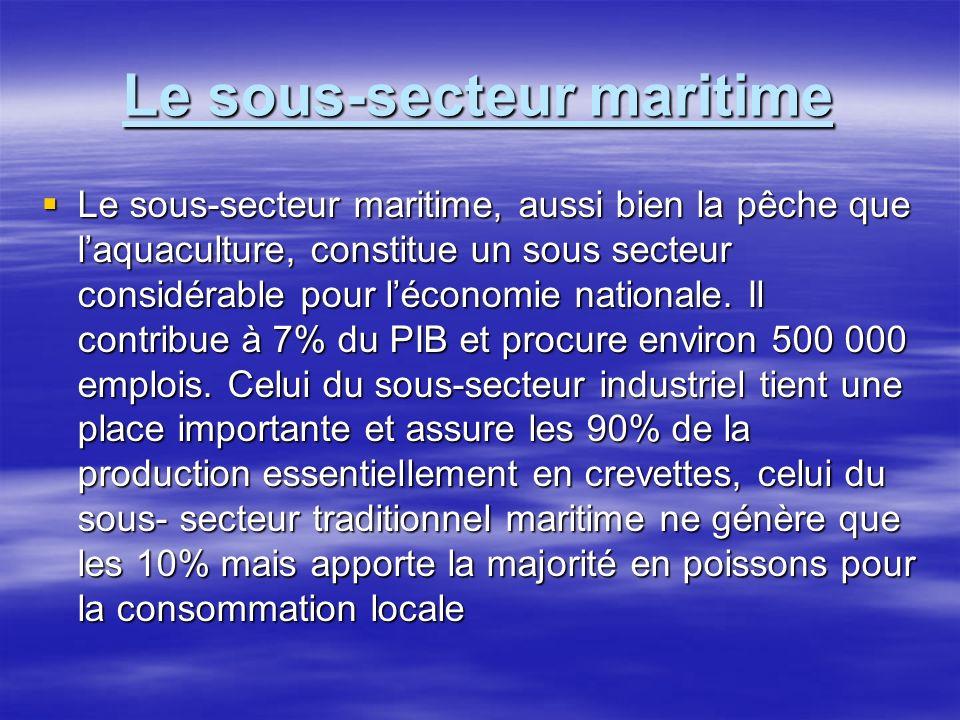 Le sous-secteur maritime Le sous-secteur maritime, aussi bien la pêche que laquaculture, constitue un sous secteur considérable pour léconomie nationa