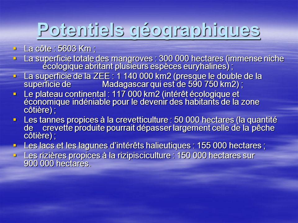 Potentiels halieutiques Les crevettes pénéides côtières : 12 000 tonnes (PNRC, 2000) Les crevettes pénéides côtières : 12 000 tonnes (PNRC, 2000) Les crevettes profondes : 2000 tonnes, (J Roulot, 1998) Les crevettes profondes : 2000 tonnes, (J Roulot, 1998) Les langoustes côtières : 1000 tonnes, (M Giudicelli, 1984) Les langoustes côtières : 1000 tonnes, (M Giudicelli, 1984) Les langoustes profondes : 325 tonnes, (Sanders : Bautil, in J Roulot 1998) Les langoustes profondes : 325 tonnes, (Sanders : Bautil, in J Roulot 1998) Les crabes de palétuviers côtiers : 7 500 tonnes, (Andrianaivojaona et Al, 1992) Les crabes de palétuviers côtiers : 7 500 tonnes, (Andrianaivojaona et Al, 1992) Les crabes profondes : 7000 tonnes,(J Roulot, 1998) Les crabes profondes : 7000 tonnes,(J Roulot, 1998) Les petits poissons pélagiques : 160 000 tonnes, (A Ralison, 1990) Les petits poissons pélagiques : 160 000 tonnes, (A Ralison, 1990) Les poissons demersaux : 45 000 tonnes, (A Ralison, 1990) Les poissons demersaux : 45 000 tonnes, (A Ralison, 1990) Les thons : 52 000 tonnes, (Andrianaivojaona et Al, 1992) Les thons : 52 000 tonnes, (Andrianaivojaona et Al, 1992) Les céphalopodes : inconnu Les céphalopodes : inconnu Les échinodermes : 670 tonnes, surexploitées,(Andrianaivojaona et Al,1992) Les échinodermes : 670 tonnes, surexploitées,(Andrianaivojaona et Al,1992) Les algues rouges : 3600 tonnes, (Andrianaivojaona et Al, 1992) Les algues rouges : 3600 tonnes, (Andrianaivojaona et Al, 1992)