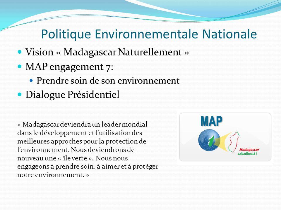 Politique Environnementale Nationale Vision « Madagascar Naturellement » MAP engagement 7: Prendre soin de son environnement Dialogue Présidentiel « M