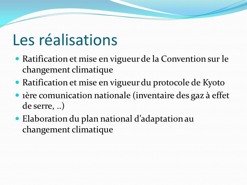 Les réalisations Ratification et mise en vigueur de la Convention sur le changement climatique Ratification et mise en vigueur du protocole de Kyoto 1