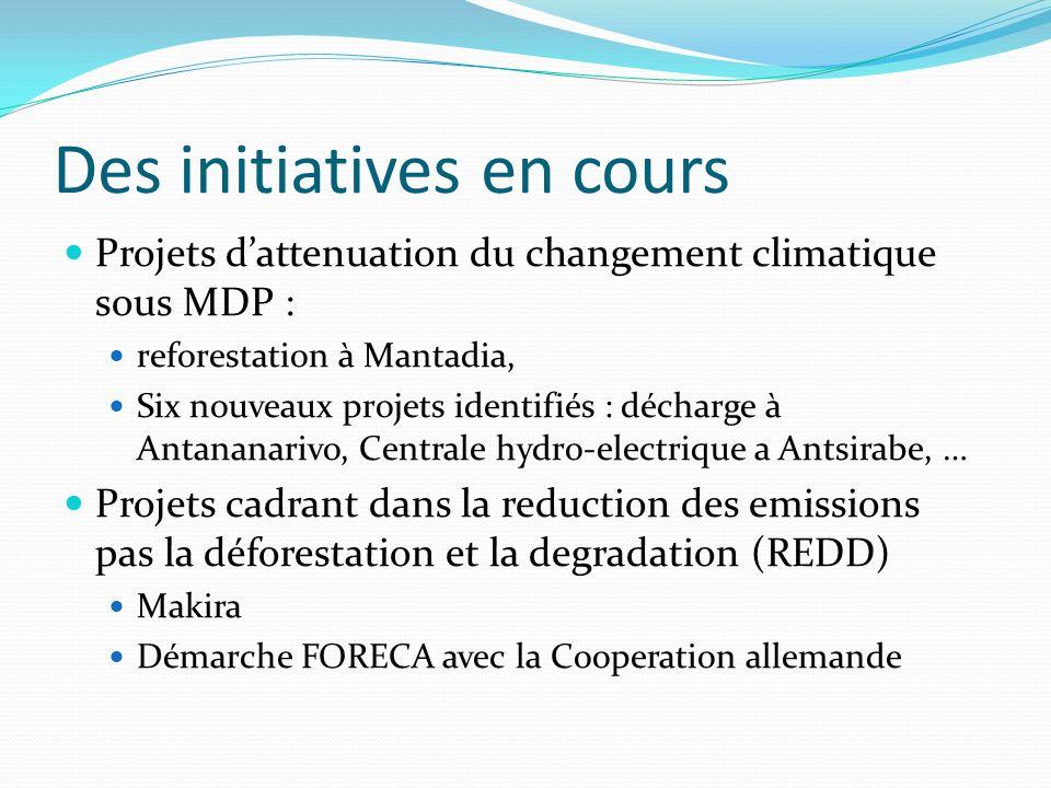 Des initiatives en cours Projets dattenuation du changement climatique sous MDP : reforestation à Mantadia, Six nouveaux projets identifiés : décharge