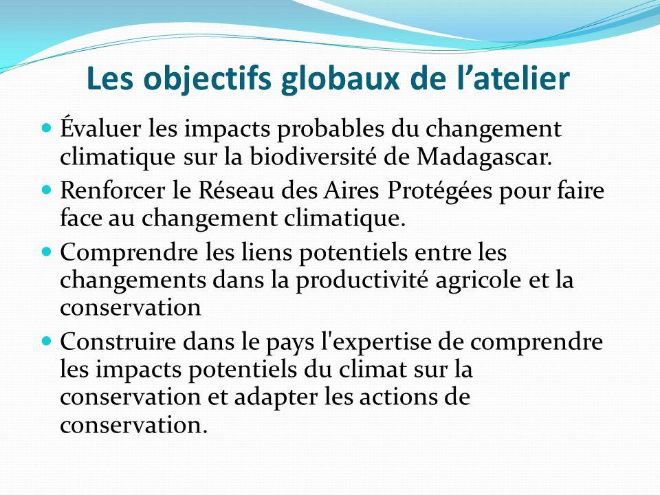 Les objectifs globaux de latelier Évaluer les impacts probables du changement climatique sur la biodiversité de Madagascar. Renforcer le Réseau des Ai