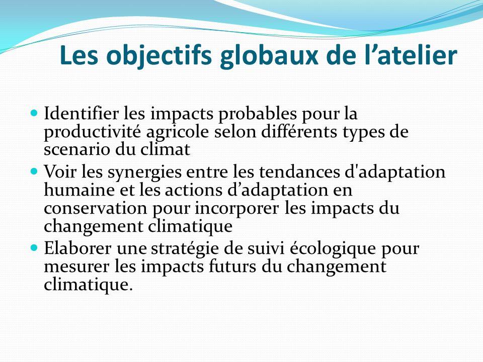 Les objectifs globaux de latelier Identifier les impacts probables pour la productivité agricole selon différents types de scenario du climat Voir les