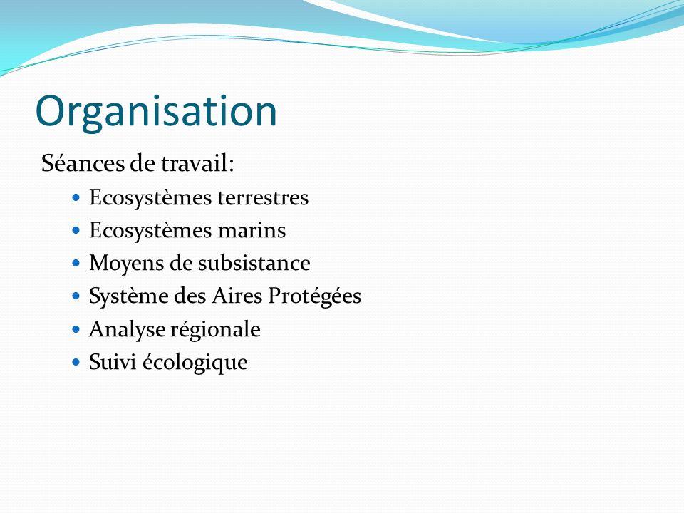 Organisation Séances de travail: Ecosystèmes terrestres Ecosystèmes marins Moyens de subsistance Système des Aires Protégées Analyse régionale Suivi é