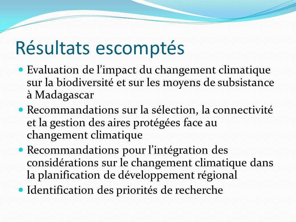 Résultats escomptés Evaluation de limpact du changement climatique sur la biodiversité et sur les moyens de subsistance à Madagascar Recommandations s
