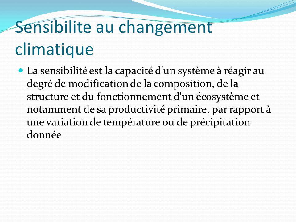 Sensibilite au changement climatique La sensibilité est la capacité d'un système à réagir au degré de modification de la composition, de la structure