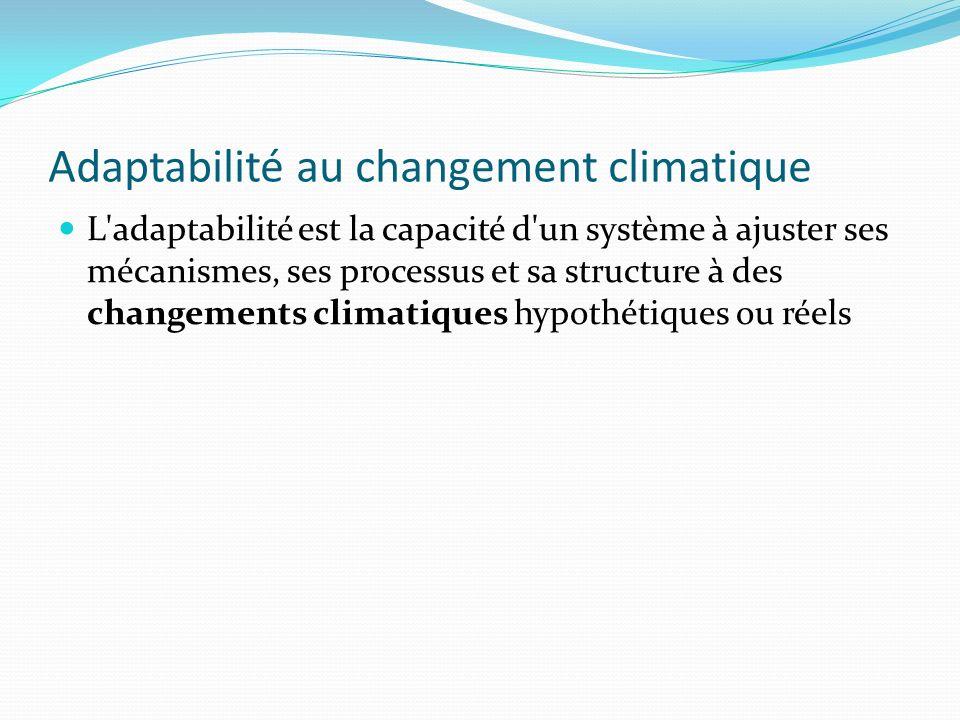 Adaptabilité au changement climatique L'adaptabilité est la capacité d'un système à ajuster ses mécanismes, ses processus et sa structure à des change