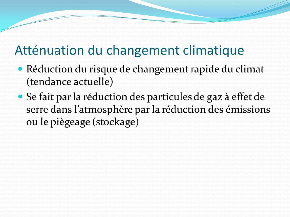 Atténuation du changement climatique Réduction du risque de changement rapide du climat (tendance actuelle) Se fait par la réduction des particules de