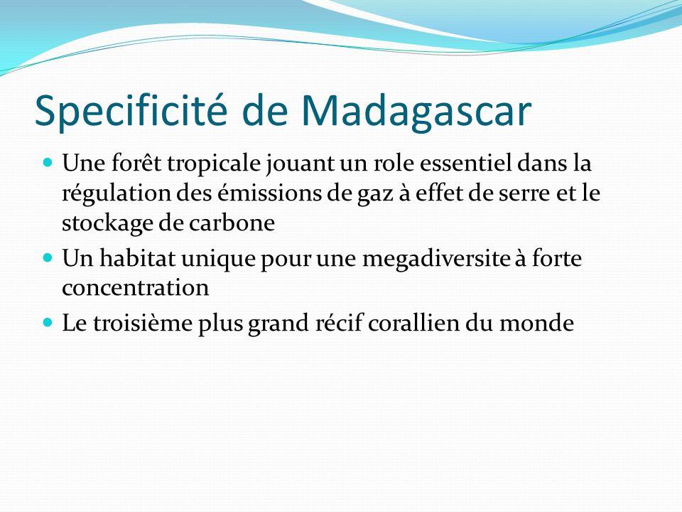 Specificité de Madagascar (suite) Une population essentiellement rurale, vivant de lagriculture et à faible capacite dadaptation Des pratiques anthropiques qui détruisent la forêt (culture itinérante sur brûlis) ou qui libère des quantités importantes de gaz à effet de serre dans latmosphère (feux de brousse, décharges non controlées)