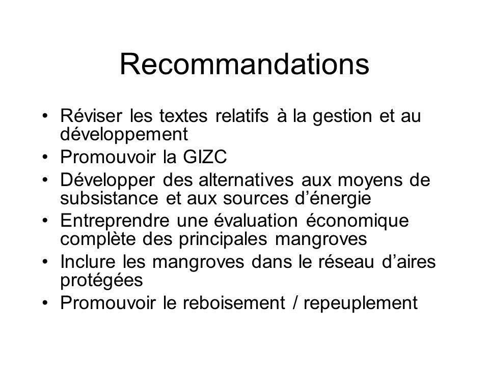 Recommandations Réviser les textes relatifs à la gestion et au développement Promouvoir la GIZC Développer des alternatives aux moyens de subsistance