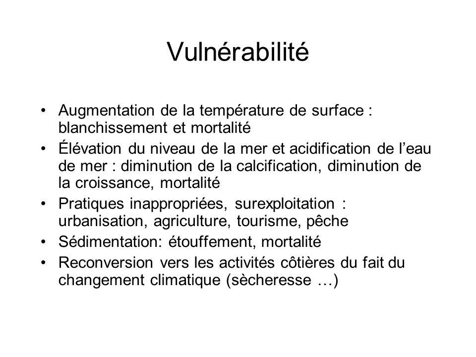 Vulnérabilité Augmentation de la température de surface : blanchissement et mortalité Élévation du niveau de la mer et acidification de leau de mer :
