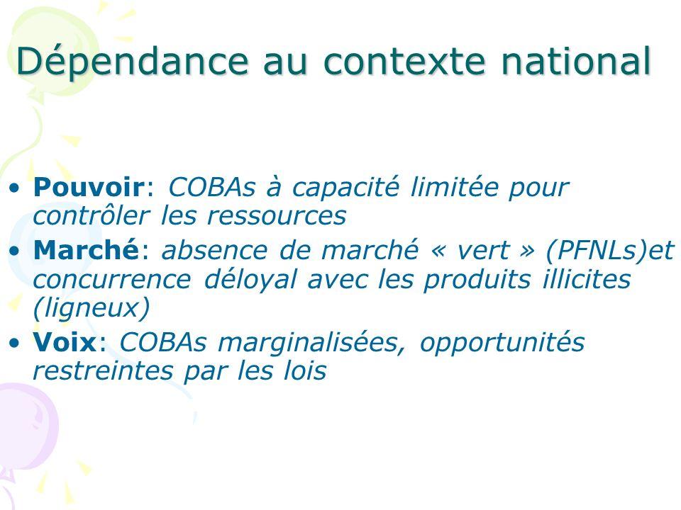 Dépendance au contexte national Pouvoir: COBAs à capacité limitée pour contrôler les ressources Marché: absence de marché « vert » (PFNLs)et concurren