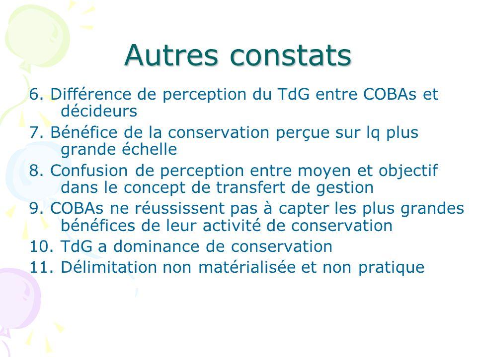 Autres constats 6. Différence de perception du TdG entre COBAs et décideurs 7. Bénéfice de la conservation perçue sur lq plus grande échelle 8. Confus