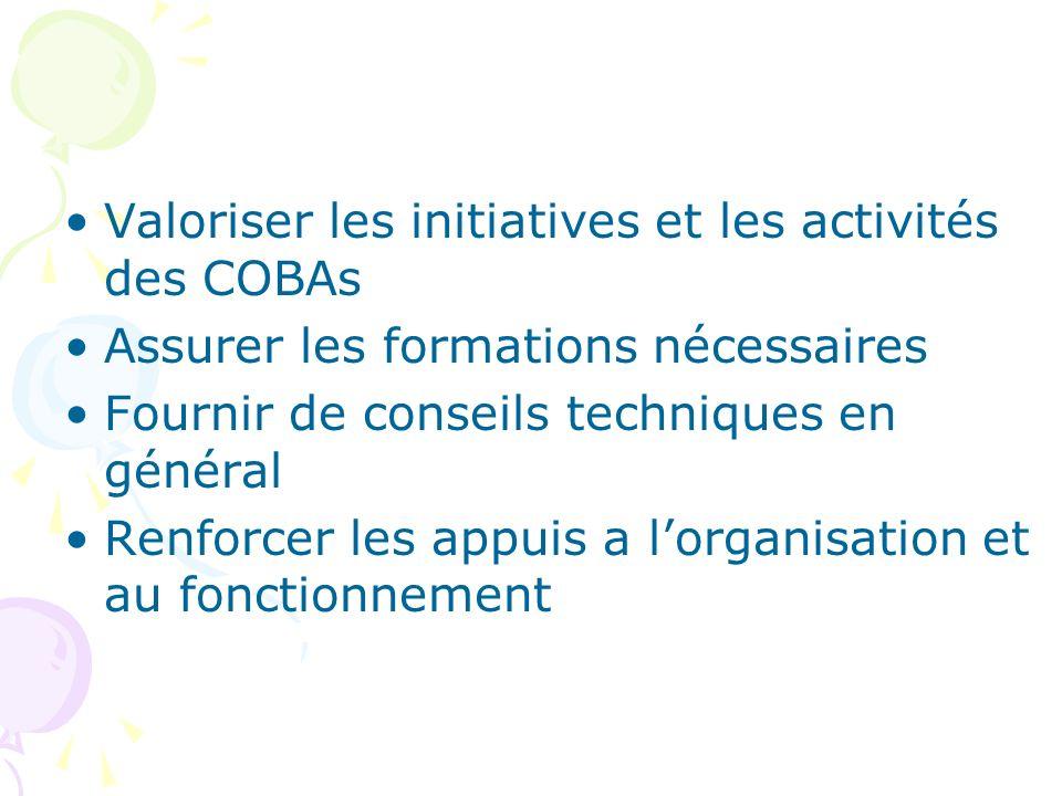Valoriser les initiatives et les activités des COBAs Assurer les formations nécessaires Fournir de conseils techniques en général Renforcer les appuis