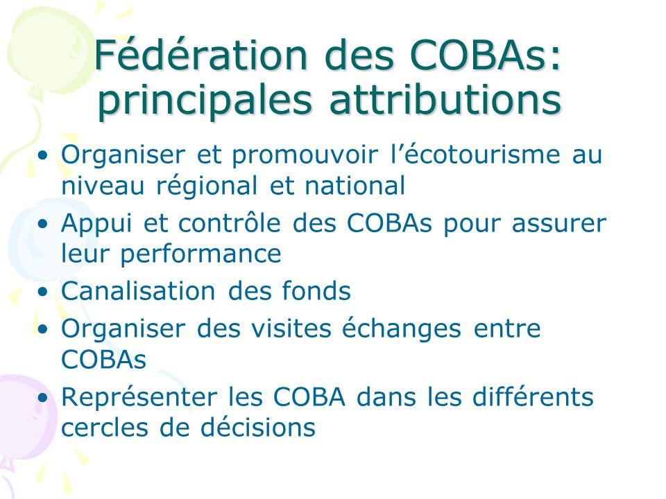 Fédération des COBAs: principales attributions Organiser et promouvoir lécotourisme au niveau régional et national Appui et contrôle des COBAs pour as