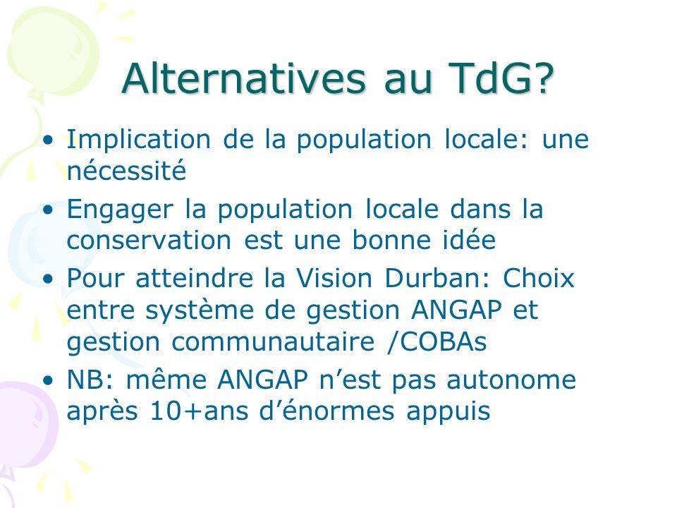 Alternatives au TdG? Implication de la population locale: une nécessité Engager la population locale dans la conservation est une bonne idée Pour atte