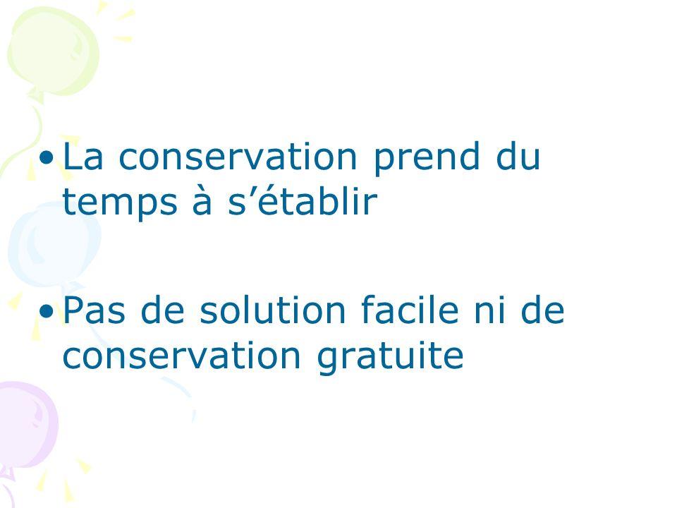 La conservation prend du temps à sétablir Pas de solution facile ni de conservation gratuite