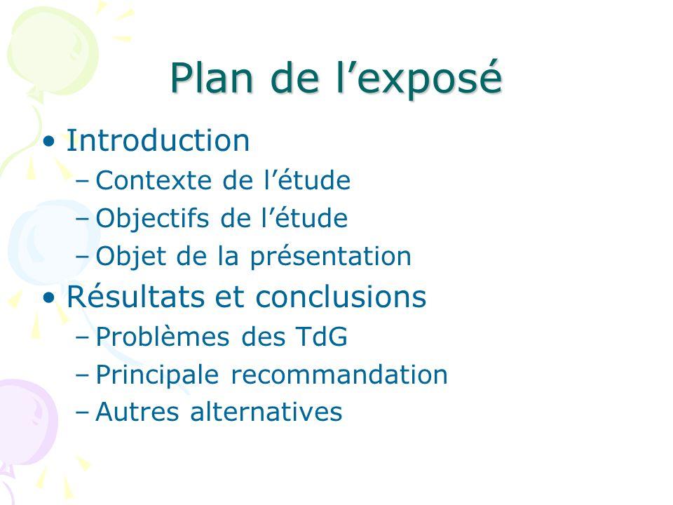 Plan de lexposé Introduction –Contexte de létude –Objectifs de létude –Objet de la présentation Résultats et conclusions –Problèmes des TdG –Principal